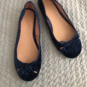 NWT Topshop Blue velvet ballerinas
